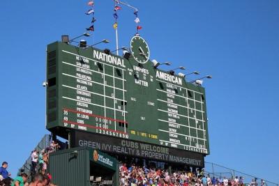 Green Ivy Wrigley Field Scoreboard